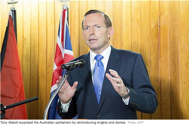 Prime Minister Tony Abbott reinstating imperial honours to Australia