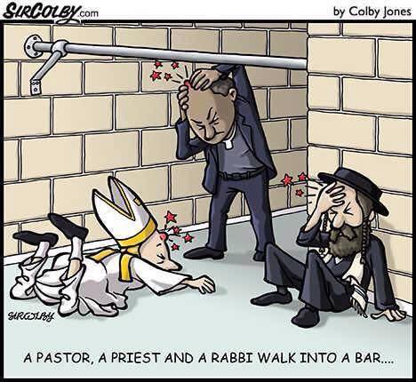 A Pastor, a Priest, and a Rabbi walk into a bar