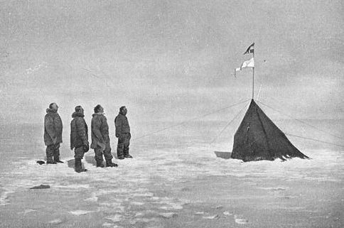 Roald Amundsen's four companions at the South Pole in 1911