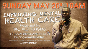 Sunday May 20th 10AM, Dr Ali Kidmas presenting on Improving Mental Health Care