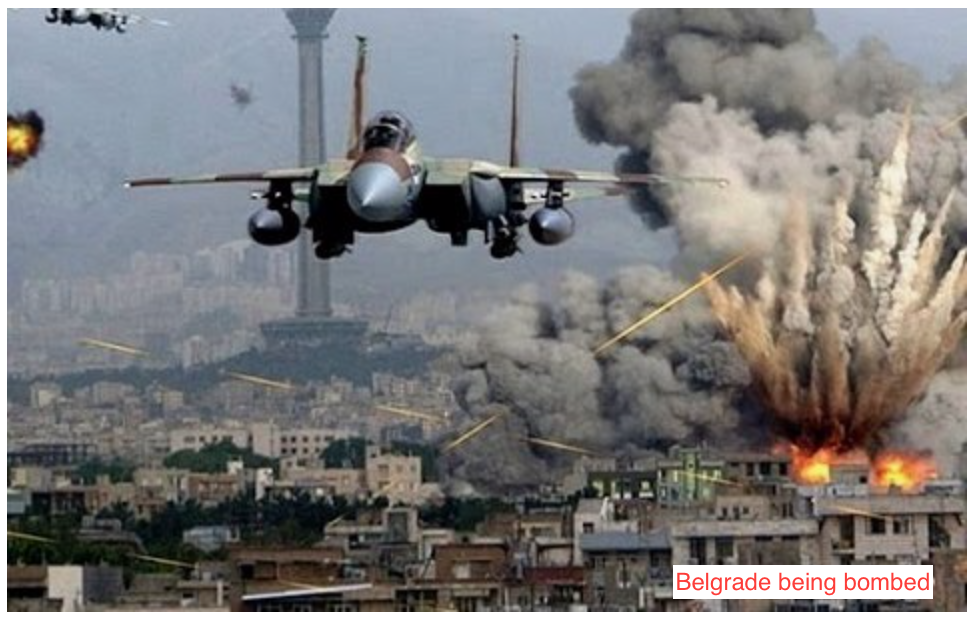 The home-town of Novak Djokovic, Belgrade Serbia, being bombed by NATO for 78 consecutive nights in 1999