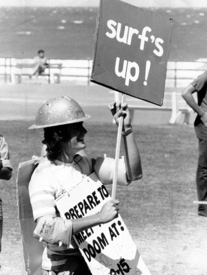 Clairvoyant John Nash predicted that an earthquake and tidal wave would hit Adelaide in January 1976. It was all a big joke to Chris Overall of Rosslyn Park, who paraded in Glenelg wearing hard hat and carrying a sign that read 'surf's up!'.