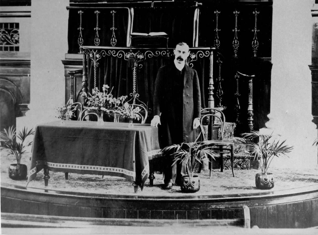 F.W. Boreham in 1908 in Hobart Baptist Church where he was the pastor