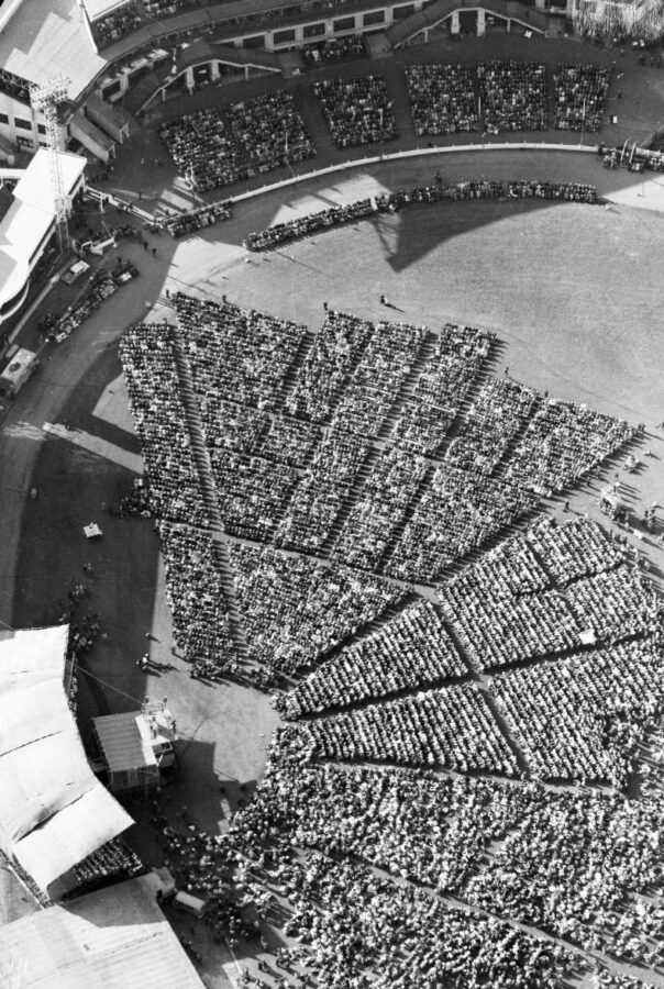 Aerial view of the Sydney Showgrounds on April 12th 1959 where 10,000 people came out to hear Billy Graham