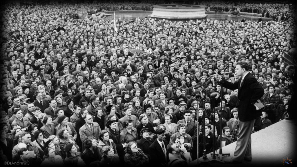 Billy Graham preaching in London in 1956 where more than 2 million Brits came out to hear him
