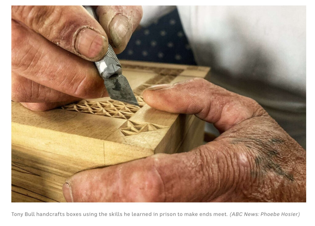 Former long-term Risdon Prison inmate, Tony Bull, makes small wooden boxes from the skills he learnt in prison.